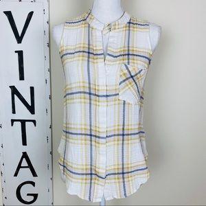 {Anthro} Cloth & stone plaid yellow white top